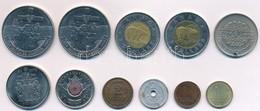 """11db Vegyes Magyar és Külföldi Fémpénz, Közte 1984. Dollar Ni """"Jaque Cartier"""" (2x), Kanada 1996. 2$ Al-Br, Ni T:2,2- - Monnaies & Billets"""