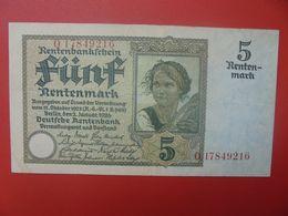 Rentenbankschein 5 Rentenmark 1926 8 CHIFFRES CIRCULER (B.17) - [ 3] 1918-1933 : Repubblica  Di Weimar