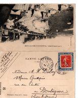 Sur Carte Lettre SAINT AUBIN SUR MER Porte Timbre Semeuse  Vignette Guerre à L'alcool... - Postmark Collection (Covers)