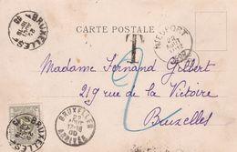 Belgique - TX6 Sur Carte Postale De Nieuwpoort à Bruxelles - 1900 - Strafportzegels