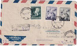 POLOGNE 1954 PLI AERIEN RECOMMANDE DE WARSZAWA - 1944-.... Republic