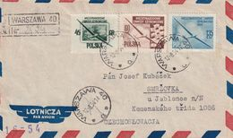 POLOGNE 1954 PLI AERIEN RECOMMANDE   DE WARSZAWA AVEC CACHET ARRIVEE SMRZOVKA - 1944-.... Republic