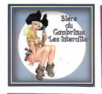 "ETIQUETTE BIERE BRASSERIE GAMBRINUS "" LES INTERDITS "" / L'ALSACIENNE - MULHOUSE - Bière"