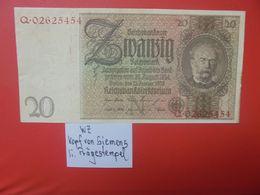 """Reichsbanknote 20 Reichsmark 1929 """"PRÄGESTEMPEL"""" """"Q"""" CIRCULER (B.17) - [ 3] 1918-1933: Weimarrepubliek"""