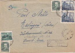 POLOGNE 1952 LETTRE RECOMMANDEE DE JAWORZE AVEC CACHET ARRIVEE ESSLINGEN - 1944-.... Republic