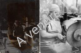 """Négatif Plaque De Verre """"Fabrique Nationale"""" Femme Machines - Plaques De Verre"""