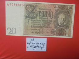 "Reichsbanknote 20 Reichsmark 1929 ""PRÄGESTEMPEL"" ""A"" CIRCULER (B.17) - [ 3] 1918-1933: Weimarrepubliek"