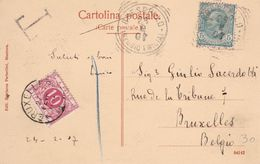 Belgique - TX5 Sur Carte Postale De Brescello (Reggio Emilia) Vers Bruxelles - 1907 - Strafportzegels
