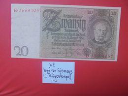 """Reichsbanknote 20 Reichsmark 1929 """"PRÄGESTEMPEL"""" """"B"""" CIRCULER (B.17) - [ 3] 1918-1933: Weimarrepubliek"""