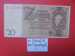 """Reichsbanknote 20 Reichsmark 1929 """"OHNE PRÄGESTEMPEL"""" """"B"""" CIRCULER (B.17) - [ 3] 1918-1933: Weimarrepubliek"""