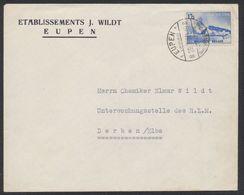 "Exposition De Liège - N°487 Sur Lettre Obl à Pont ""Eupen Luftkuport 1"" (1939) > Derben / Elbe (Allemagne) - Bélgica"