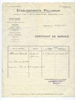 ARGENTEUIL  Facture 1928  ETABLISSEMENTS PALLADIUM  Pneumatique AUTOS AVIONS - France