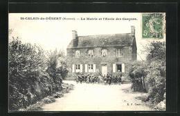 CPA Saint-Calais-du-Désert, La Mairie Et L'Ecole Des Garcons - France