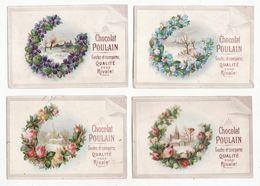 Chromo  CHOCOLAT POULAIN    Lot De 4    Paysages, Fleurs     10.8 X 7.4 Cm - Poulain