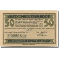 Billet, Allemagne, Gernrode-Harz, 50 Pfennig, Rue, 1921, SPL Mehl:423.2a - Duitsland