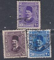 Egypte N° 169 / 71 O Roi Fouad 1er, Les 3 Valeurs Oblitérées, TB - Egypt