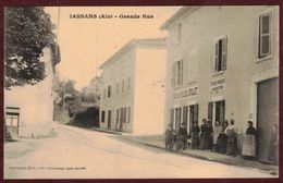 Jassans Grande Rue Animée  - Café Du Tilleul POLLET - épicerie Mercerie Charcuterie  * AIN 01480  Jassans-Riottier - Autres Communes