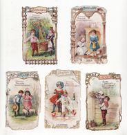 Chromo  CHOCOLAT POULAIN    Lot De 5    Enfants, Fleurs, Mois De Février, Mars, Octobre, Novembre, Décembre - Poulain