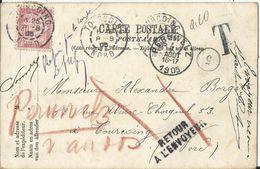 """Carte Avec COB N°58 Leopold II Fine Barbe, Timbre Taxe France 20 Centimes Oblitération Tourcoing """"Retour à L'Envoyeur"""" - 1893-1900 Barbas Cortas"""