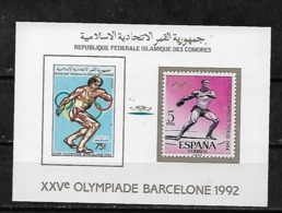 &BAR112& COMORES MICHEL BL 255B MNH**. SPORT, OLYMPIC GAMES BARCELONA 92. DISCUS. - Comores (1975-...)