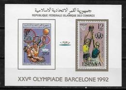 &BAR113& COMORES MICHEL BL 259B MNH**. SPORT, OLYMPIC GAMES BARCELONA 92. BASKETBALL. - Comores (1975-...)