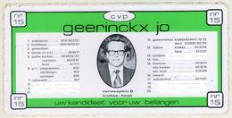 AUTOCOLLANT .  STICKER .  KNOKKE-HEIST .VERWEEPLEIN  8  .CVP . GEERINCKX  JO . UW KANDIDAAT VOOR UW BELANGER - Stickers