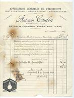 ARGENTEUIL  Facture 1929  Antonin COULON  Applications Générales De L'electricité - France