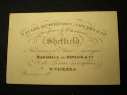 SCHEFFIELD - NAYLOR HUTCHINSON VICKERS FABRICANS D'ACIER - BUSINESS CARD/ CARTE DE VISITE 9.5 X 6 - Sheffield
