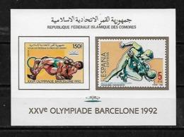 &BAR116A& COMORES MICHEL BL 258B MNH**. SPORT, OLYMPIC GAMES BARCELONA 92, WRESTLING, FIGHT. - Comores (1975-...)