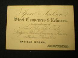 SCHEFFIELD - SPEAR & JACKSON _ STEEL CONVERTERS & REFINERS - BUSINESS CARD/ CARTE DE VISITE 9 X 6 - Sheffield
