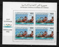 &BAR118& COMORES MICHEL 826B IN BLOCK OF 4 MNH**. SPORT, OLYMPIC GAMES BARCELONA 92, ROWING. - Comores (1975-...)