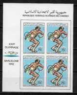 &BAR118A& COMORES MICHEL 825B IN BLOCK OF 4 MNH**. SPORT, OLYMPIC GAMES BARCELONA 92, DISCUS. - Comores (1975-...)