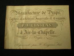 AIX-LA-CHAPELLE - P.J.LINGENS MANUFACTURE DE DRAPS - BUSINESS CARD/ CARTE DE VISITE 9.5 X 6.5 - Aachen