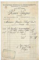 ARGENTEUIL  Facture 1930  Henri SAGNE Entreprise De Demenagements - France