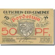 Billet, Allemagne, Bordelum, 50 Pfennig, Blason 4, 1922 SPL Mehl:143.1 - Duitsland