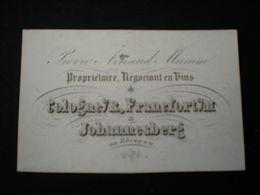 COLOGNE - FRANCFORT - JOHANNESBERG P. A. MUMM - NEGOCIANT EN VINS - CARTE DE VISITE PORCELAINE10 X 6.5 - Koeln