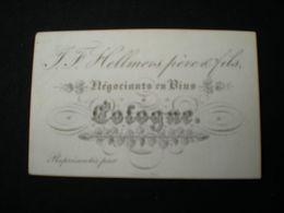 COLOGNE - J.F. HELLMERS - NEGOCIANTS EN VINS - CARTE DE VISITE PORCELAINE 8.5 X 5.5 - Koeln