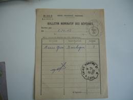 Bulletin Nomitatif Des Depeches  Paris A Calais Maritime  Cachet Ambulant Convoyeur Poste Ferroviaire - Poste Ferroviaire