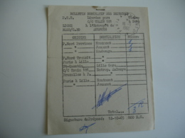 Bulletin Nominatif Des Depeche Train 181 Aulnoye  Cachet Ambulant Convoyeur Poste Ferroviaire - Correo Ferroviario
