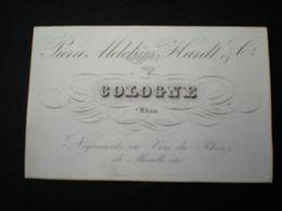 COLOGNE - P. M. HARDT - NEGOCIANTS EN VINS - CARTE DE VISITE PORCELAINE 10 X 6.5 - Koeln