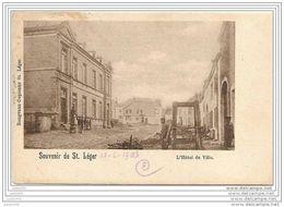 SAINT - LEGER ..-- L' Hôtel De Ville . 1903 Vers HOUDENG - GOEGNIES ( Melle Elise PAUPLIER? ) . Voir Verso . - Saint-Léger