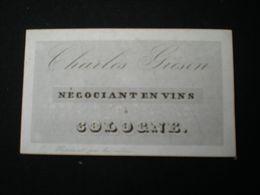 COLOGNE - CHARLES GRISON - NEGOCIANT EN VINS - CARTE DE VISITE PORCELAINE 9.5 X 5.5 - Koeln