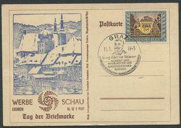 DEUTSCHES REICH / Postkarte Werbeschau Leoben, Tag Der Briefmarke, Mit MiNr. 828 Und Stp. Vom 11.1.1943 - Brieven En Documenten