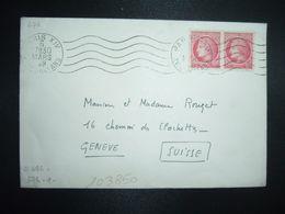 LETTRE Pour La SUISSE TP CERES DE MAZELIN 1F Paire OBL.MEC.6 MARS 48 PARIS XIV - 1945-47 Cérès De Mazelin