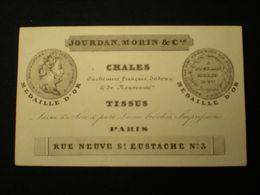 PARIS - RUE NEUVE ST. EUSTACHE - JOURDAN MORIN & CIE - CHALES TISSUS - CARTE DE VISITE  10.5 X 6.5 - Sin Clasificación