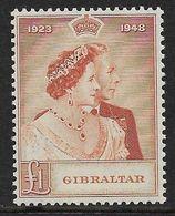 GIBRALTAR 1948 £1 SILVER WEDDING SG 135 UNMOUNTED MINT Cat £60 - Gibraltar