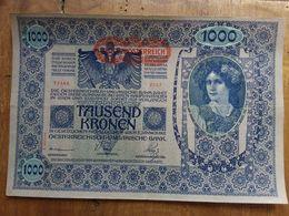 Austria 1902 - Banconota Da 1000 Corone - Sovrastampa Nuova - Piegatura + Spese Postali - Austria
