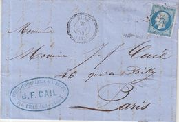 """FRANCE : N° 14 . OBL . PC 2677 . """" RILLE """" . (36) . CAD T24 .  1858 . - Postmark Collection (Covers)"""