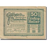 Billet, Autriche, Haidershofen, 50 Heller, Lac 1920-12-31, SUP  Mehl:FS 335Ia - Austria