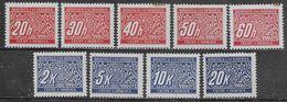 1939 Bohemia And Moravia Postage Due 9val Mi N.3-7,11-14 MH * - Bohême & Moravie